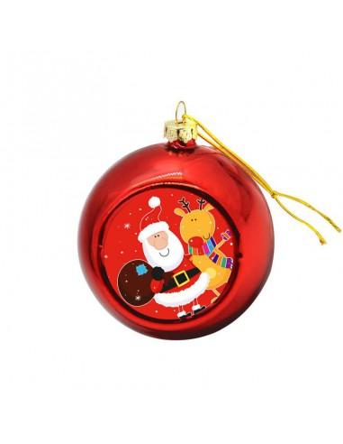 Kerstbal Rood   Ø8cm   Sublimatie