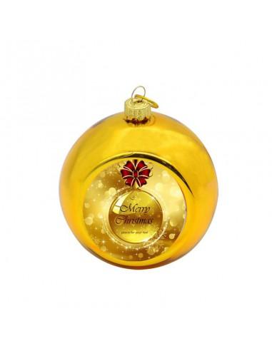 Kerstbal Goud   Ø8cm   Sublimatie